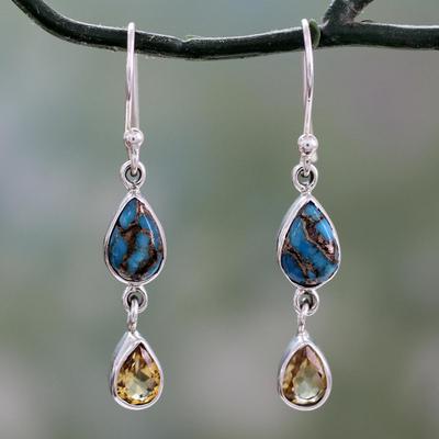 Citrine dangle earrings, 'Heavenly Light' - Fair Trade Indian Artisan Handcrafted 925 Sterling Silver Da