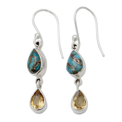 Citrine and Composite Blue Turquoise Dangle Earrings