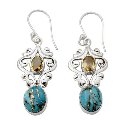 Artisan Crafted Earrings with Citrine and Turquoise