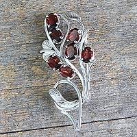 Garnet brooch pin, 'Crimson Bouquet' - Sterling Silver Brooch Pin with Garnets Handcrafted in India
