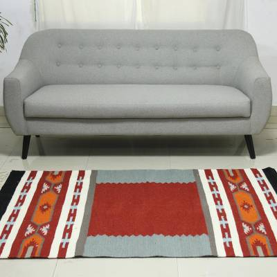 Hand Crafted 100 Wool Area Rug With Fringe From India 4x6 Festive Salute