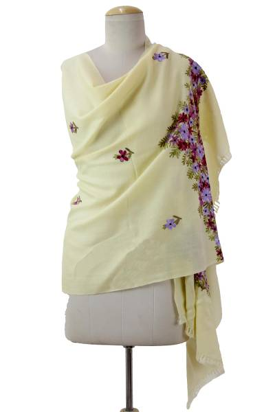 9451764e12 Indian Floral Chain Stitch Embroidery Yellow Wool Shawl - Daisies ...