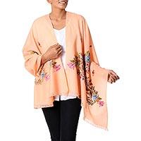 Wool shawl, 'Peach Garden' - Wool Shawl in Peach with Aari Embroidery from India