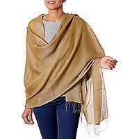 Reversible silk and wool shawl, 'Olive Honeycomb' - Taupe and Mustard Reversible Silk and Wool Shawl from India