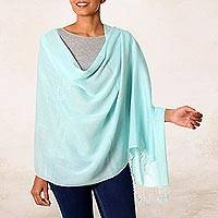 Cotton shawl, 'Aqua Caress' - Cotton Shawl in Aqua Loom Woven in India