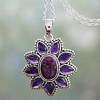 Amethyst pendant necklace, 'Ruffled Petals' - Silver Necklace with Amethyst and Composite Turquoise
