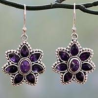 Amethyst dangle earrings, 'Ruffled Petals' - Silver Earrings with Amethyst and Composite Turquoise