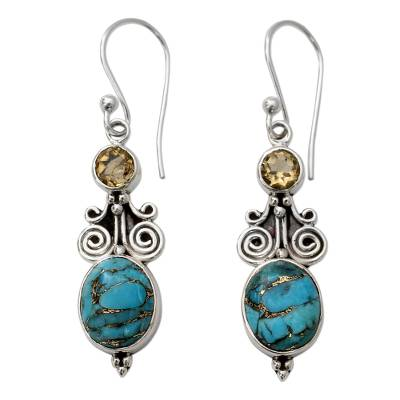Artisan Crafted Sterling Silver Earrings with Citrine Gems
