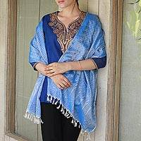 Varanasi silk shawl, 'Blue Ecstasy' - Silk Shawl from India in Blue and White Brocade