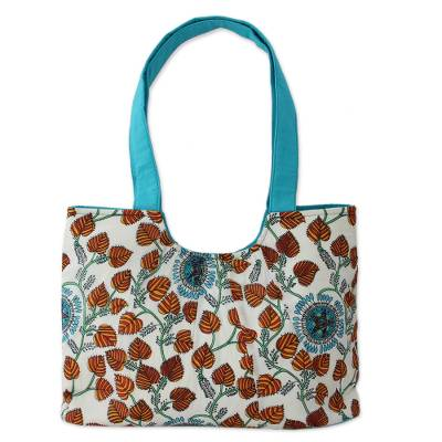Handcrafted Turquoise Trim Cotton Tote Handbag from India