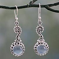 Chalcedony dangle earrings, 'Serene Paisley' - Blue Chalcedony Cabochon and Sterling Silver Dangle Earrings