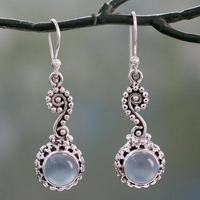 Chalcedony dangle earrings, 'Serene Paisley' - Blue Chalcedony Cabochon and Sterling Silver Dangle Earrings