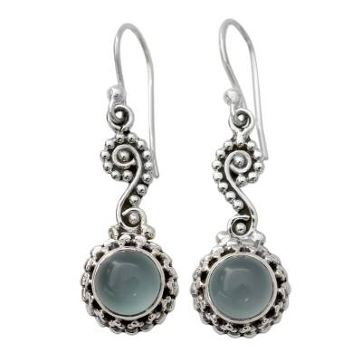 Blue Chalcedony Cabochon and Sterling Silver Dangle Earrings