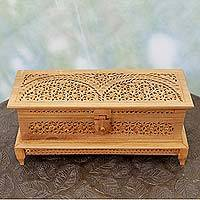 Wood jewelry box, 'Dancing Flowers' - Indian Jali Style Wood Jewelry Box with Floral Motif
