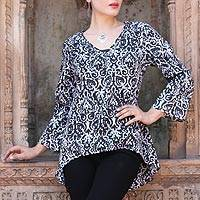Cotton tunic, 'Monochrome Beauty' - Black and White Abstract Screen Printed Cotton Tunic