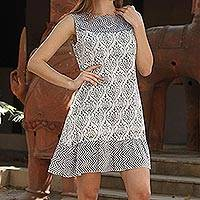 Cotton shift dress, 'Grey Beauty' - Floral Grey and White Sleeveless Summer Dress from India
