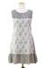 Cotton shift dress, 'Grey Beauty' - Floral Grey and White Sleeveless Summer Dress from India (image 2c) thumbail