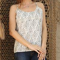 Cotton camisole top, 'Grey Beauty' - 100% Cotton Camisole in Eggshell and Grey from India