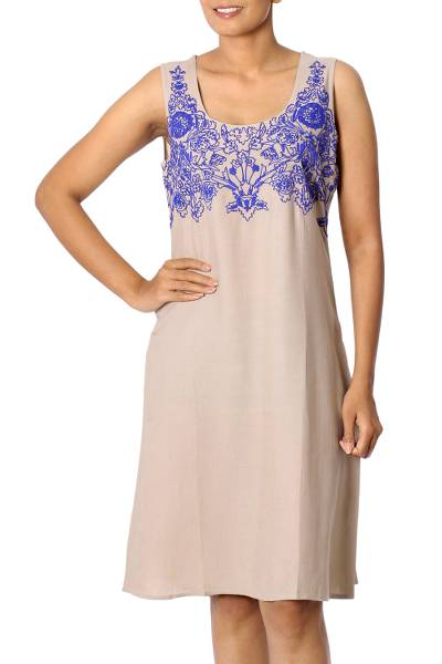 Embroidered Sleeveless Dress in Khaki and Blue from India