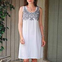 Viscose shift dress, 'Smoke Grey Personality' - Viscose Grey Floral Embroidered Dress from India