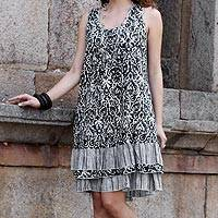 Cotton shift dress, 'Traditional Charm' - Black and White Casual Cotton Sleeveless Dress from India