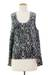 Sleeveless cotton top, 'Newly Ancient' - Black and White 100% Cotton High Low Sleeveless Top (image 2c) thumbail