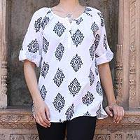 Cotton tunic, 'Diamond Leaves'