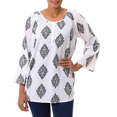 Cotton tunic, 'Diamond Leaves' - White Cotton Tunic with Black Printed Leaves from India