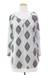 Cotton tunic, 'Diamond Leaves' - White Cotton Tunic with Black Printed Leaves from India (image 2d) thumbail