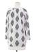 Cotton tunic, 'Diamond Leaves' - White Cotton Tunic with Black Printed Leaves from India (image 2e) thumbail