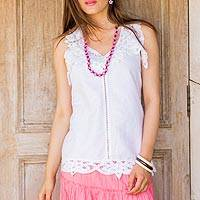 Linen and cotton blend top, 'Summer Bliss' - Cotton and Linen Blend Lace Trim Top in Eggshell from India