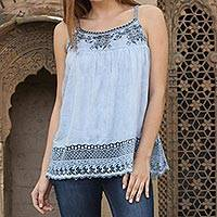 Viscose camisole top, 'Powder Blue Delight' - 100% Viscose Blouse in Powder Blue from India