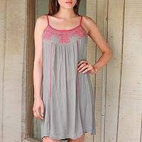 Viscose sundress, 'Deep Rose Summer' - 100% Viscose Dress in Taupe and Deep Rose from India