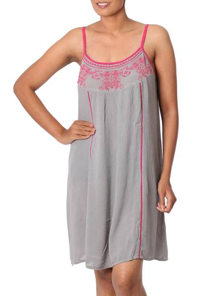 100% Viscose Dress in Taupe and Deep Rose from India