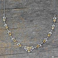 Citrine Y necklace,