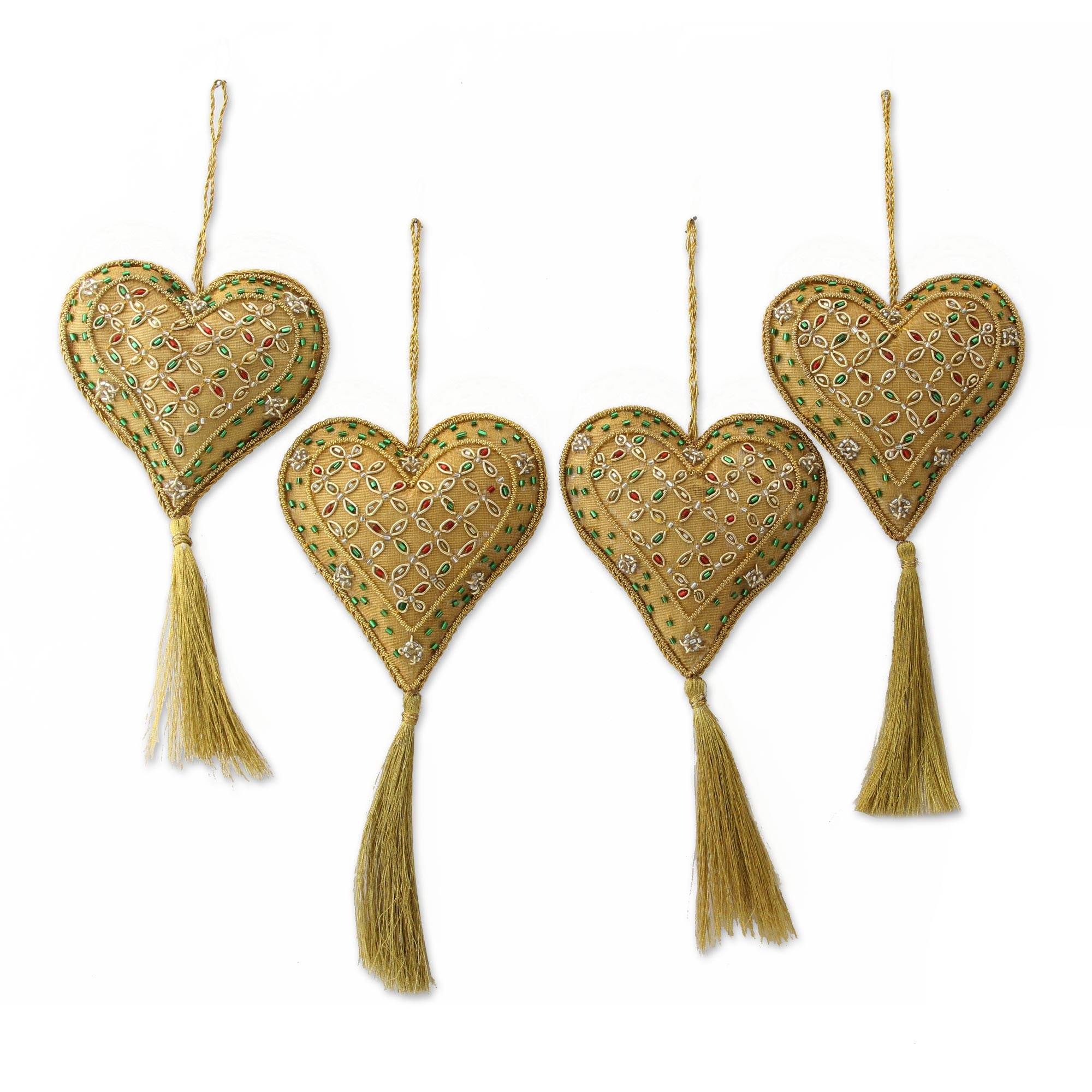 Peruvian christmas ornaments - Four Handcrafted Beaded Gold Heart Christmas Ornaments Heart Of The Holiday Novica