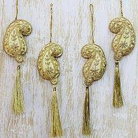 Beaded ornaments, 'Paisley Holiday' - Hand Beaded Gold Paisley Christmas Ornaments (Set of 4)