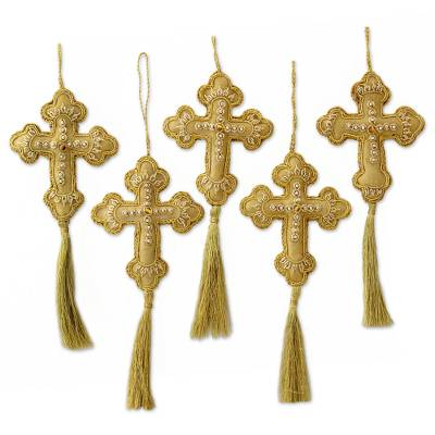 Beaded ornaments, 'Golden Cross' (set of 4) - Beaded Artisan Crafted Cross Ornaments from India (Set of 4)