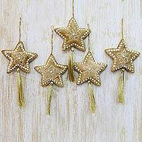 Beaded ornaments, 'Holiday Star' (set of 5) - Five Handcrafted Beaded Christmas Star Ornaments