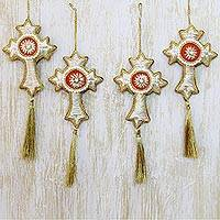 Beaded ornaments, 'Silver Floral Cross' (set of 4) - Beaded Artisan Crafted Cross Ornaments from India (Set of 4)