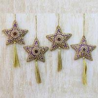 Beaded ornaments, 'Purple Star' (set of 4)