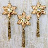 Beaded ornaments, 'Golden Poinsettia' (set of 3) - Three Gold Poinsettia Handcrafted Beaded Christmas Ornaments