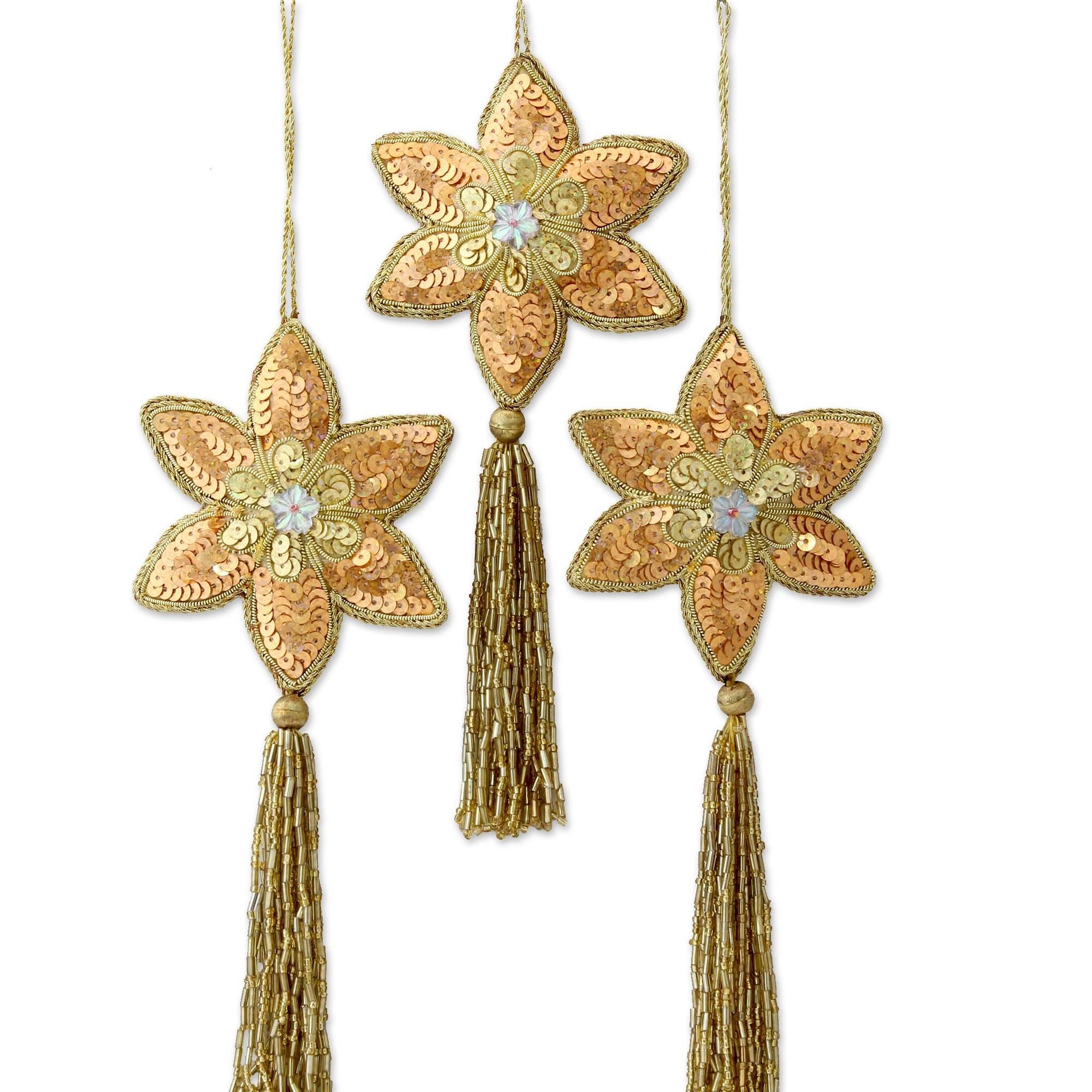 Beaded Christmas Ornaments.Three Gold Poinsettia Handcrafted Beaded Christmas Ornaments Golden Poinsettia