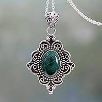 Malachite pendant necklace, 'Captivating Forest' - Natural Malachite Pendant Necklace in 925 Sterling SIlver