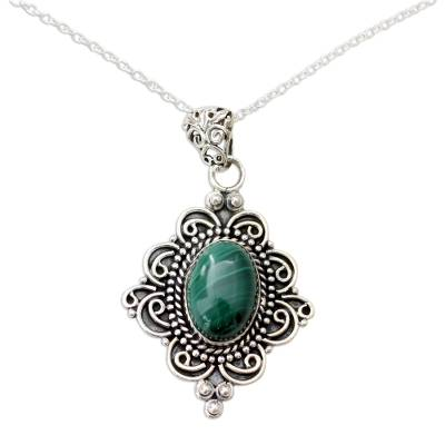Malachite pendant necklace, 'Captivating Forest' - Natural Malachite Pendant Necklace in 925 Sterling SIlver