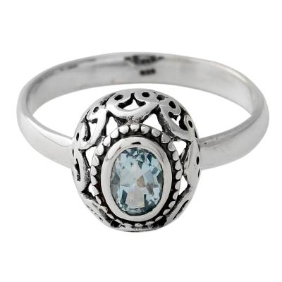One Carat Blue Topaz and Sterling Silver Ring