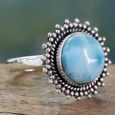 Classic Larimar Cocktail Ring in Sterling Silver Bezel