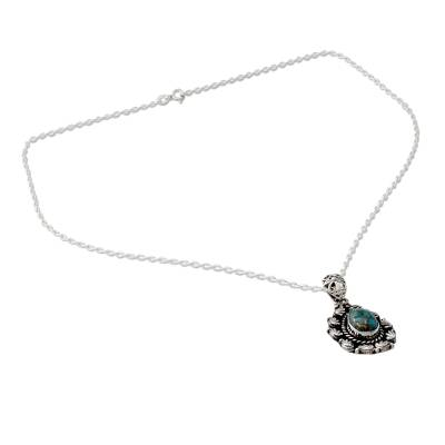 Indian Teardrop Shaped Pendant Necklace in Sterling Silver