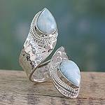 Wrap Style Ring in Sterling Silver with Larimar Gems, 'Dreamy Duo'