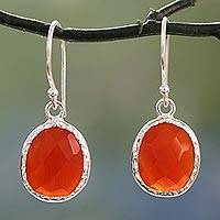 Onyx dangle earrings, 'Fire Enthrall' - Hand Crafted Red Onyx and Sterling Silver Dangle Earrings